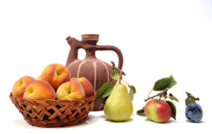 Image Still-life Pears Peaches Plums Pitcher White background