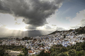 Images Morocco Houses Sky Clouds Chefchaouen Cities