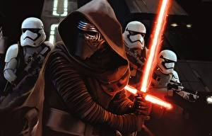 Image Star Wars: The Force Awakens Star Wars - Movies Warriors Clone trooper Lightsaber Hood headgear Swords lightsaber film Fantasy