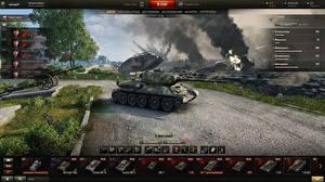 Hintergrundbilder World of Tanks Panzer T-34 T-34-85 in the hangar Spiele