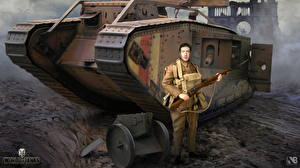 Bilder WOT Panzer Soldaten Gewehr Nikita Bolyakov Mark Spiele