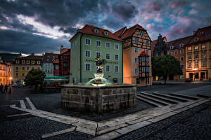 Picture Czech Republic Houses Fountains Night Street Cheb Cities