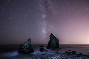 Hintergrundbilder Landschaftsfotografie Meer Himmel Stern Felsen Nacht Natur