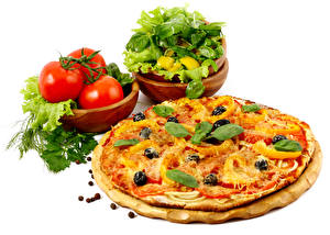 Wallpaper Fast food Pizza Tomatoes White background Basil Food