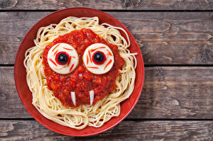Wallpapers Halloween Plate Pasta Ketchup Design Food