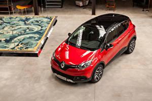 Tapety na pulpit Renault Czerwony Metaliczna Widok z góry 2016 Captur  Hypnotic Samochody
