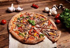Bilder Fast food Pizza Tomaten Pilze Knoblauch Lebensmittel
