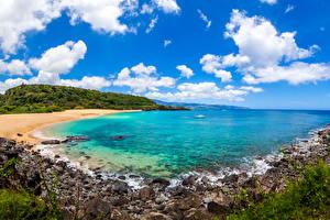 Photo Scenery Coast Sky Stones Ocean USA Hawaii Clouds Nature