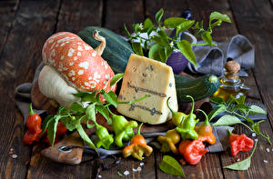 Pictures Still-life Cheese Pumpkin Bell pepper Vegetables Food