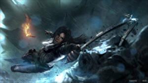 Hintergrundbilder Tomb Raider Rise of the Tomb Raider Bergsteigen Lara Croft Fackel Bergsteiger Spiele Mädchens
