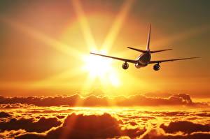 Hintergrundbilder Flugzeuge Verkehrsflugzeug Wolke Sonne Flug Luftfahrt
