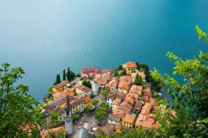Wallpapers Building Lake Italy From above Lake Como Varenna Lombardy Cities