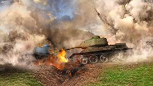 Bureaubladachtergronden Tank Explosie Rook  Militair