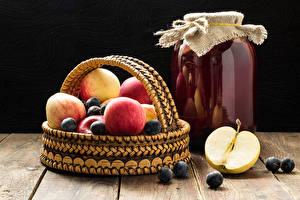 Wallpapers Juice Apples Berry Jar Wicker basket Food