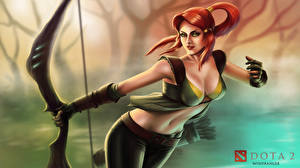 Photo DOTA 2 Windrunner Warriors Archers Redhead girl Bow weapon Games Fantasy