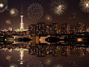 Pictures Fireworks Houses Berlin Germany Night Cities