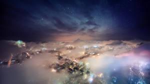 Bilder Vereinigte Staaten Nacht Von oben Nebel New York City Städte
