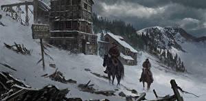 Hintergrundbilder Malerei Gezeichnet Mann Hauspferd 2 Schnee Natur