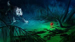 Sfondi desktop Animali magici Lupi Giocattolo Notte Palude Fantasy
