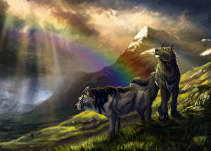 Images Wolf Mountains Two Rainbow Fantasy