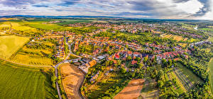 Picture Czech Republic Building Fields From above Uhersky Ostroh Cities