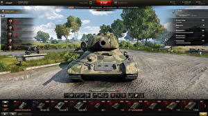 Fotos World of Tanks Panzer T-34 T-34-85 in the hangar Spiele