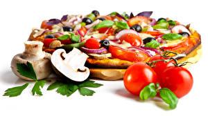 Bilder Fast food Pizza Tomate Pilze Zucht-Champignon Weißer hintergrund Lebensmittel