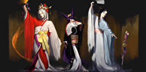 Fonds d'écran Trois 3 Kimono Fantasy Filles
