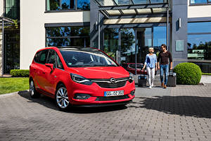 Hintergrundbilder Opel Rot 2016 Zafira Turbo auto