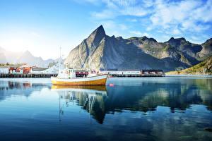 Pictures Norway Mountain Building Sea Motorboat Lofoten Cities