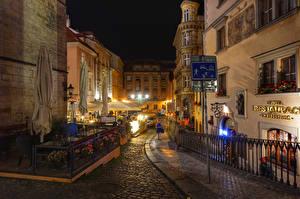 Pictures Prague Czech Republic Houses Street Night time Street lights Cities