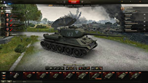 Hintergrundbilder World of Tanks Panzer T-34 T-34-85 Rudy in the hangar Spiele