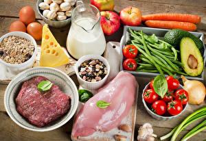Fotos Fleischwaren Käse Milch Gemüse Obst Hühnerfleisch Kanne