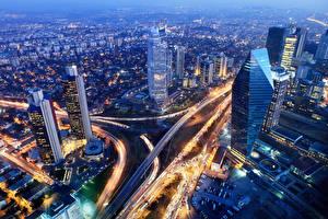 Bilder Türkei Gebäude Straße Istanbul Megalopolis Nacht Von oben Städte