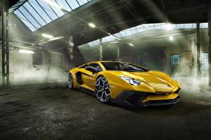 Pictures Lamborghini Yellow Metallic 2016 Novitec Torado Aventador LP 750-4 Superveloce Cars