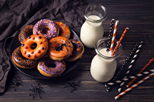 Photo Pastry Milk Halloween Spiders Donuts Highball glass Two Food