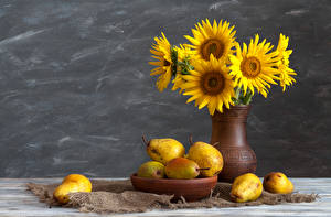 Picture Still-life Sunflowers Pears Vase Flowers