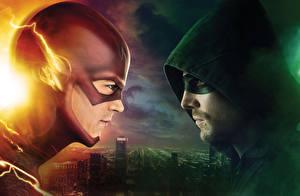 Wallpaper Man Masks The Flash 2014 TV series The Flash hero Hooded Flash vs Arrow Movies