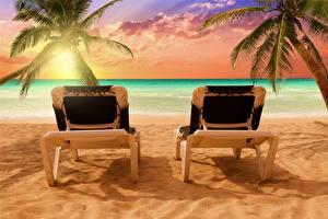 Hintergrundbilder Meer Tropen Sonnenaufgänge und Sonnenuntergänge Palmen Sonnenliege Natur