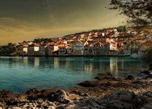 Photo Croatia Houses Coast Evening  Cities