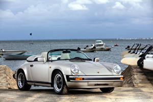 Wallpaper Porsche Vintage Silver color Convertible 1989 911 Carrera Speedster automobile