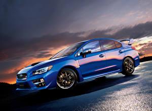 Desktop hintergrundbilder Subaru Blau Seitlich JP-spec STI WRX 2014 automobil