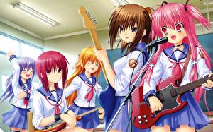 Fonds d'écran Angel Beats! Microphone Guitare Écolière Uniforme Yusa, Yui Filles