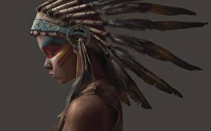 Fotos Federn Warbonnet Indianer Mädchens