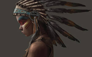 Photo Feathers War bonnet Indians Girls