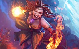Picture DOTA 2 Lina Magic Warriors Flame Redhead girl Games Fantasy Girls