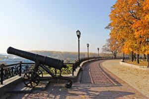 Hintergrundbilder Kanone Parks Herbst Ukraine Chernihiv Chernigov shaft Städte