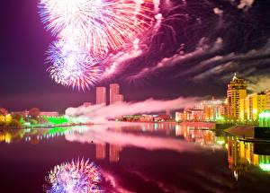Image Fireworks Building Kazakhstan River Night time Astana Cities