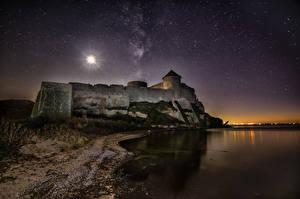Bilder Küste Festung Ukraine Himmel Stern Nacht Bilhorod-Dnistrovskyi