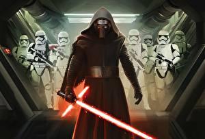 Wallpapers Star Wars: The Force Awakens Warriors Masks Clone trooper Hooded Swords Kylo Ren film
